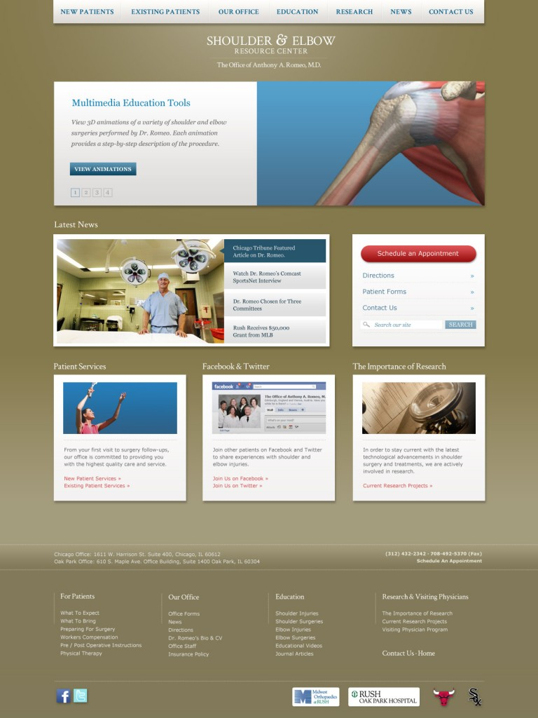 Dr. Anthony Romeo website redesign