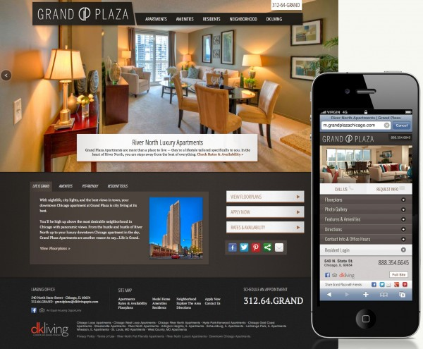 grand plaza website design - Apartment Website Design