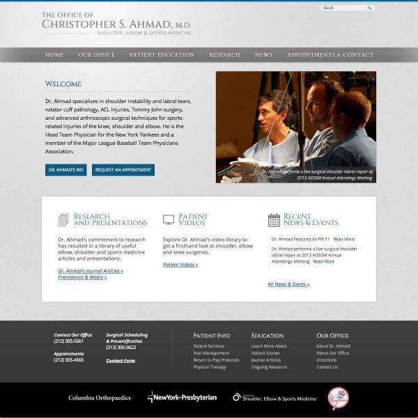 Dr Christopher S Ahmad Website
