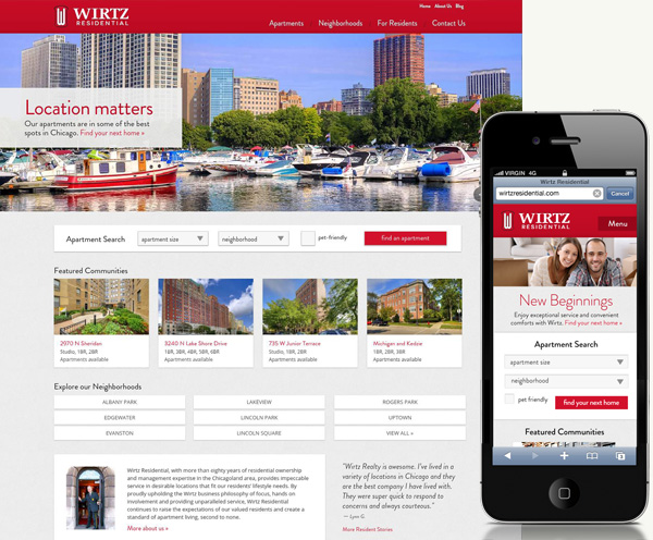 wirtz residential launches new web site - Apartment Website Design