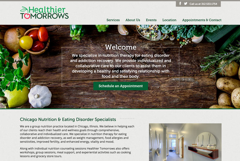 Healthier Tomorrows Website Design